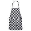 Fame® Black/White Checkerboard No Pocket Bib Apron W/Neck Adjustment