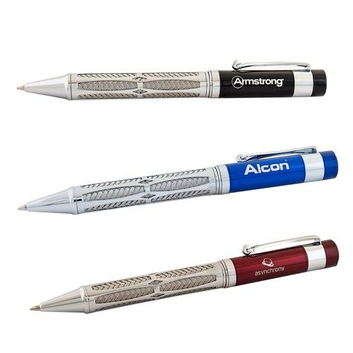 Indust Twist-Action Ballpoint Pen With Braided Steel Barre