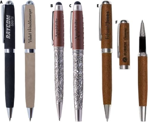 Snap-Off Rollerball Pen With Acid-Etch Metal Barrel And Genuine Leather Cap And Stylus Top