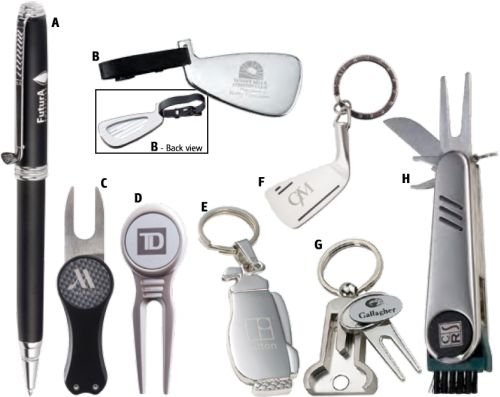 Two-Tone Silver Divot Tool With Ball Marker Keychain