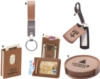 Genuine Leather 4 Piece Coaster Set With Holder