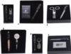 Nail Clipper And Keychain Bottle Opener Set In White Stitched Leatherette Gift Box With Black Plate