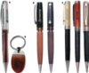 Matching Rosewood And Satin Silver Ballpoint Pen And Keychain Set