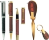 Genuine Leather Ballpoint Pen And Keychain Set