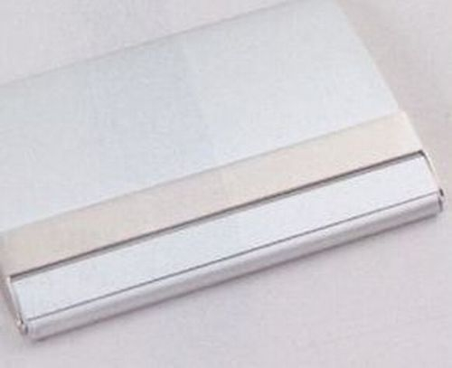 Silver Business Card Holder w/ Polished Silver Accent (2 1/2
