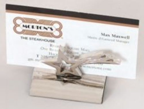 Polished Silver Star Business Card Holder