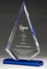 Arrow Series Clear Acrylic Award with Blue Highlight & Base