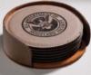 Six Piece Round Leather Coaster Set