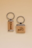Square Silver Key Ring w/ Maplewood Inserts (1 1/8
