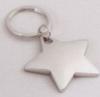 Star Shaped Polished Silver Keyrings (1 7/8