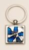 Light Blue Art Glass/ Chrome Plated Key Rings