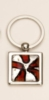 Red Art Glass/ Chrome Plated Key Ring
