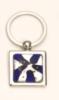 Violet Art Glass/ Chrome Plated Key Rings