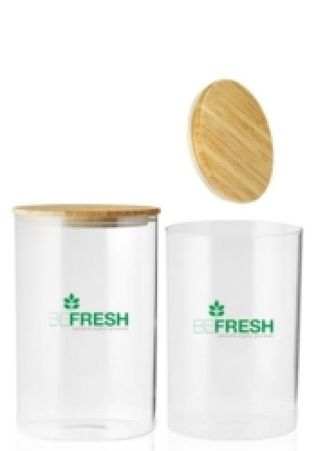 37 oz. Store N Go Glass Storage Jars with Bamboo Lids