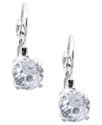 Nine West Jewelry - Silver-Tone Round-Cut Crystal Drop Earrings