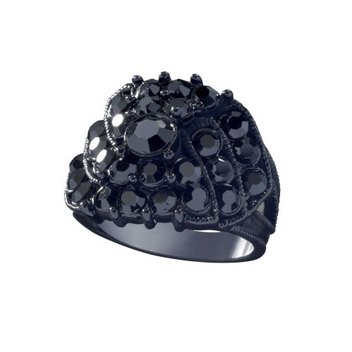GUESS Jewelry - Black Ring  with Crystals - Size 8