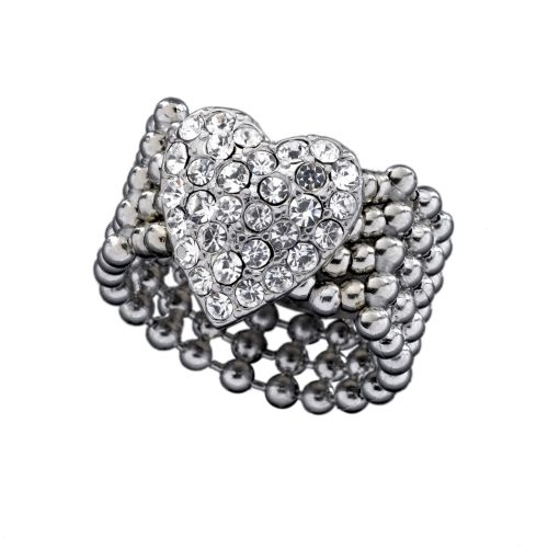 GUESS Jewelry - Stretch Pave Heart Ring - Silver