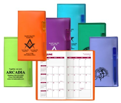 Academic Monthly Planner w/ Translucent Vinyl Cover & Flat Matching Pen