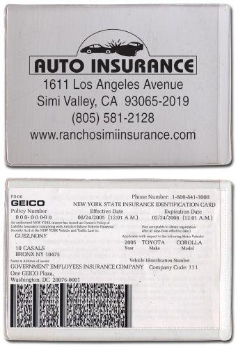 Clear Vinyl Sleeve/ Insurance Card Holder (5 1/2