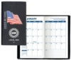 Executive Vinyl Cover w/ Pre-Printed Flag - Weekly Planner w/ Map (1 Color Insert)
