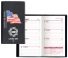Executive Vinyl Cover w/ Pre-Printed Flag - Weekly Planner (1 Color Insert) No Map