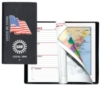 Executive Vinyl Cover w/ Pre-Printed Flag - Weekly Planner w/ Map (2 Color Insert)