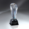 Optic Crystal Spotlight Tower on Black Glass Base (2 Locations and Silver Color-Fill on Base)