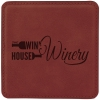 Leatherette Square Coaster (Rose Red)
