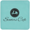 Leatherette Square Coaster (Teal Green)