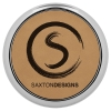 Leatherette Silver Edge Round Coaster (Light Brown)