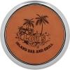 Leatherette Silver/Gold Edge Round Coaster (Rawhide)