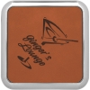 Leatherette Silver Edge Square Coaster (Rawhide/Silver)