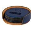 Leatherette Round 6-Coaster Set (Blue)