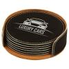 Leatherette Round 6-Coaster Set (Black/Silver)