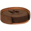 Leatherette Round 6-Coaster Set (Dark Brown)