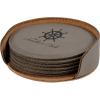 Leatherette Round 6-Coaster Set (Grey)