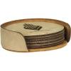 Leatherette Round 6-Coaster Set (Light Brown)