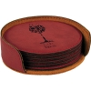 Leatherette Round 6-Coaster Set (Rose Red)