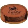 Leatherette Round 6-Coaster Set (Rawhide)