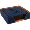 Leatherette Square 6-Coaster Set (Blue)