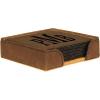 Leatherette Square 6-Coaster Set (Dark Brown)
