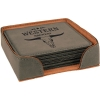 Leatherette Square 6-Coaster Set (Grey)