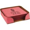 Leatherette Square 6-Coaster Set (Pink)