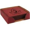 Leatherette Square 6-Coaster Set (Rose Red)
