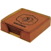 Leatherette Square 6-Coaster Set (Rawhide Brown)