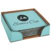 Leatherette Square 6-Coaster Set (Teal Green)