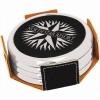 Leatherette Metallic Edge Round 4-Coaster Set (Black/Silver)