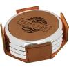Leatherette Silver Edge Round 4-Coaster Set (Dark Brown/Silver)