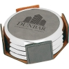 Leatherette Silver Edge Round 4-Coaster Set (Grey)