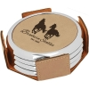 Leatherette Silver Edge Round 4-Coaster Set (Light Brown/Silver)